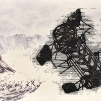 Anthropocène 10, Aquarelle et acrylique sur papier Arches monté sur bois, 45 x 91cm, 2018
