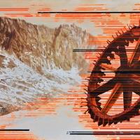 Anthropocène 11, Aquarelle et acrylique sur papier Arches monté sur bois, 30 x 76cm, 2018