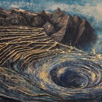 Anthropocène 17, Graphite, acrylique et feuille d'or sur bois, 122 x 213cm, 2018