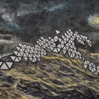 Anthropocène 19, Graphite, acrylique et feuille d'aluminium sur bois, 122 x 213cm, 2019