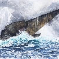 Anthropocène 23, Aquarelle sur papier Arches monté sur bois, 30,5 x 45,5cm, 2020