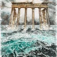 Anthropocène 24, Aquarelle sur papier Arches monté sur bois, 91 x 61cm, 2020