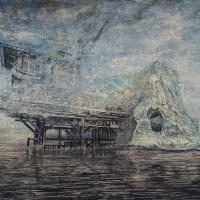 Anthropocène 3, Graphite et acrylique sur bois, 122 x 183cm, 2018