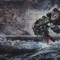 Anthropocène 4, Graphite, aquarelle et acrylique sur papier Arches monté sur bois, 45 x 91cm, 2018