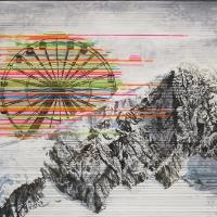 Anthropocène 7, Aquarelle et acrylique sur papier Arches monté sur bois, 61 x 91cm, 2018