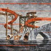Anthropocène 8, Aquarelle et acrylique sur papier Arches monté sur bois, 61 x 91cm, 2018