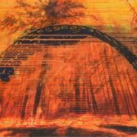Anthropocène 9, Aquarelle et acrylique sur papier Arches monté sur bois, 45 x 91cm, 2018