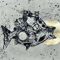 Agnus Dei 1, graphite et feuille d'or sur papier, approx. 26 x 36cm, 2012