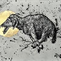 Agnus Dei 2, graphite et feuille d'or sur papier, approx. 26 x 36cm, 2012