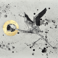 Agnus Dei 4, graphite et feuille d'or sur papier, approx. 26 x 36cm, 2012