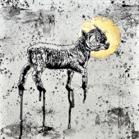 Agnus Dei 7, graphite et feuille d'or sur papier, approx. 36 x 36cm, 2012