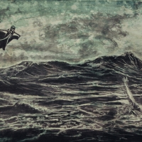 Flying Heroes, Graphite et acrylique sur bois, 30 x 60cm, 2015