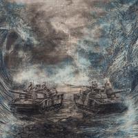 La traite de Moïse, Graphite et acrylique sur bois, 152 x 213cm, 2017