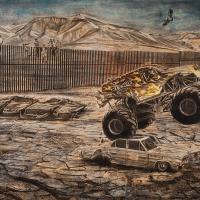 Rendre à l'Amérique sa grandeur, Graphite et acrylique sur bois, 152 x 213cm, 2017