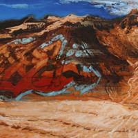 Affronter les sommets 1, huile sur toile, 40 x 140cm, 2009