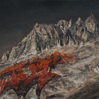 Affronter les sommets 2, huile sur toile, 80 x 140cm, 2009
