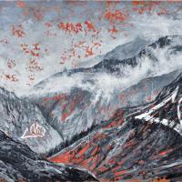 Affronter les sommets 6, acrylique et huile sur toile, 91 x 182cm, 2010