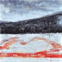 Affronter les sommets 7, acrylique et huile sur toile, 122 x 366cm, 2010