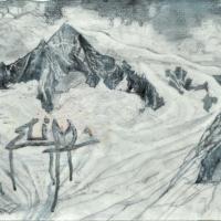 Affronter les sommets 8, graphite, acrylique et feuille d'aluminium sur papier marouflé sur bois, 2010