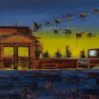 Aspirés dans l'onde, huile sur toile, 122 x 244cm, 2006