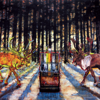 Double Wild Cherry, huile sur toile, 153 x 214cm, 2006