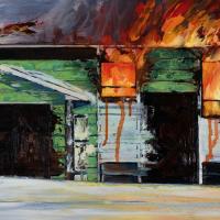 Feu de camp, huile sur toile, 30 x 60cm, 2007
