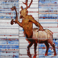 Survivre dans l'ambiguïté, acrylique et huile sur toile, 137 x 137cm, 2007