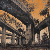 From China with Love 10, graphite, acrylique et huile sur bois, 90 x 120cm, 2011