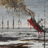 From China with Love 12, graphite, acrylique et huile sur bois, 45 x 90cm, 2011