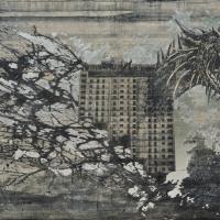 From China with Love 19, graphite, acrylique, huile et feuille d'aluminium sur bois, 122 x 183cm, 2011