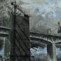 From China with Love 1, graphite, acrylique, huile et feuille d'aluminium sur papier marouflé sur bois, 45 x 90cm, 2010
