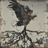From China with Love 21, graphite, acrylique et feuille d'aluminium sur bois, 61 x 61cm, 2011