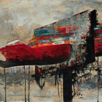 From China with Love 2, graphite, acrylique, huile et feuille d'aluminium sur bois, 45 x 90cm, 2010