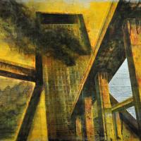 From China with Love 6, graphite, acrylique, huile et feuille d'aluminium sur bois, 45 x 90cm, 2010