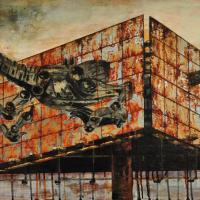 From China with Love 7, graphite, acrylique, huile et feuille d'aluminium sur bois, 45 x 90cm, 2010