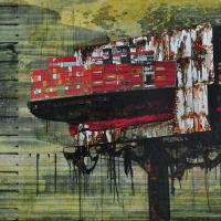 From China with Love 9, graphite, acrylique, huile et feuille d'aluminium sur bois, 90 x 152cm, 2010