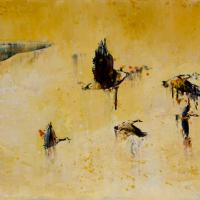 Formation en V, huile sur toile, 45 x 90cm, 2009
