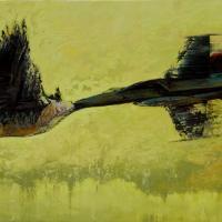 Vol suspendu/Cancelled Flight, huile sur toile, 45 x 90cm, 2009