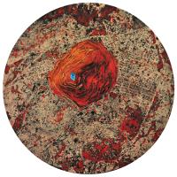 La tempête parfaite/Asbestos, graphite, acrylique et huile sur bois, tondo , 50cm, 2012