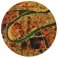 La tempête parfaite/Bagdad, graphite, acrylique et huile sur bois, tondo , 50cm, 2012