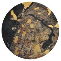 La tempête parfaite/Dubaï, graphite, acrylique et feuille d'or synthétique sur bois, tondo , 50cm, 2012