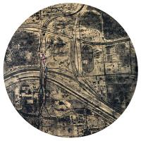 La tempête parfaite/El Paso, graphite, acrylique et huile sur bois, tondo , 50cm, 2012