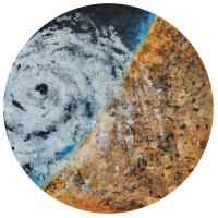 La tempête parfaite/Gaza, graphite et acrylique sur bois, tondo , 50cm, 2012