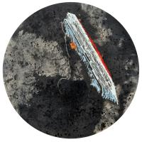 La tempête parfaite/Île de Giglio, graphite, acrylique et huile sur bois, tondo , 50cm, 2012