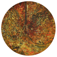 La tempête parfaite/Jérusalem, graphite et acrylique sur bois, tondo , 50cm, 2012