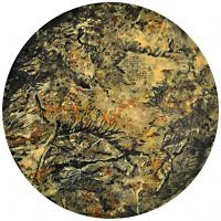 La tempête parfaite/Kaboul, graphite et acrylique sur bois, tondo , 50cm, 2012