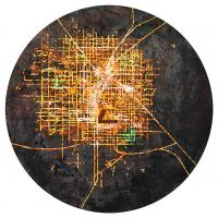 La tempête parfaite/Las Vegas, graphite, acrylique et huile sur bois, tondo , 50cm, 2012