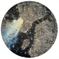 La tempête parfaite/New-York, graphite, acrylique et huile sur bois, tondo , 50cm, 2012