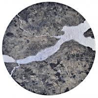 La tempête parfaite/Québec, graphite, acrylique, huile et feuille d'aluminium sur bois, tondo , 50cm, 2012