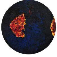 La tempête parfaite/Utoya, graphite, acrylique et huile sur bois, tondo , 50cm, 2012